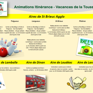Planning animations vacances de la Toussaint
